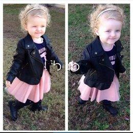 Wholesale 2016 childrens PU Jacket coatsLong Sleeve Kids Girls PU Leather Jacket Beads Zipper Lace Chiffon Kids Apparels Children Clothing