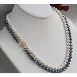 "2 rows 8-9mm black white south sea natural pearl necklace 17-18"" 14K yellow Gold"