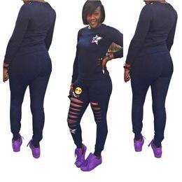 Wholesale Cotton Sportswear For Women - winter sweatsuit set two piece pants women 2 piece tracksuit sportswear sport clothes for women sport costume print 2 piece set autumn dress