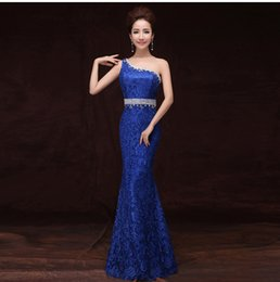 Beaded Crystal Lace Mermaid Evening Dress 2016 One Shoulder Evening Gowns Floor Length Party Dress Elegant