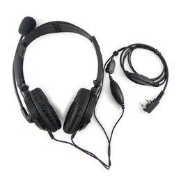 Wholesale 2 PIN Folding Headphone Headset Mic for KENWOOD QUANSHENG PUXING WOUXUN HYT TYT BAOFENG UV5R S TH D7 F6 Radio