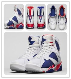 Wholesale cheap Retro VII Basketball Shoes VII OLYMPIC ALTERNATE Sports Shoes White Metallic Gold Coin Deep Royal Blue Fire Red Lite Iron Ore