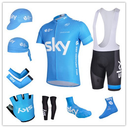 Wholesale team BLUE SKY cycling jerseys short sleeve bib sets arms gloves legs caps scarf Shoes covers cycling socks