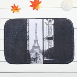 Wholesale Tower Black Bath Mats Polyester Coral Fleece Rectangle Cartoon Non slip Bathroom Bedroom Carpet Home Mat