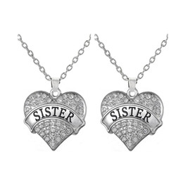 Silver Plated Best Friends   Family Member Crystal Heart Saying Sister Pendant Necklace Girls Jewelry