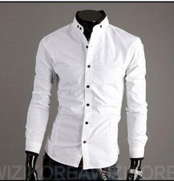 Wholesale-Free Shipping Men Brand Fashion Slim Fit White Mandarin Collar with Black Trim Casual Shirt QR-4949