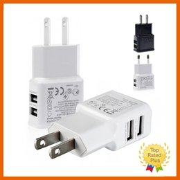 Wholesale 2 Port USB Wall Charger Portable Travel AC US EU Home Wall Power Adapter V A for iPhone s Plus Samsung