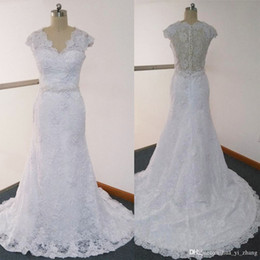 Fit N Flare Wedding Dresses Real Images inspired by Amelia Sposa Sheer V Neck Cap Sleeve Beaded Court Train Lace Bridal Wedding Gowns