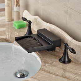 Unique Water Spout Lavatory Sink Faucet Two Holders Three Holes Deck Mounted Oil Rubbed Bronze