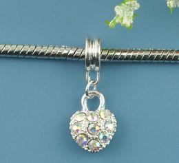 Wholesale European Style Charm Slider Pendants Heart Silver Plated AB Color Rhinestone Rhinestone mmx10mm Pc new