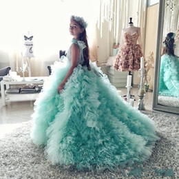 2016 Mint Ball Gown Flower Girl Dresses Puffy Tulle Ruffles Girls Pageant Gowns First Communion Dresses With Bow Child Party Dresses
