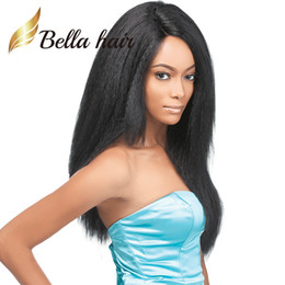 Kinky Straight Full Lace Wig Indian Virgin Human Hair Light Yaki Lace Front Wig Dyable Black Color Hair Wigs Bella Hair