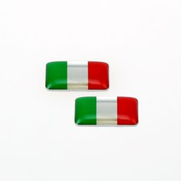 Wholesale 2pcs ETIE Car Sticker Decals Green white red Italy Flag Stickers Wrap Adhesive Vinyl Metal Sticker Technology Automotive Sticker
