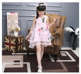 New Fashion Girls Summer One Piece Beach Short Dress Silk Flower Shiny Sleeveless Skirts 3-8years Olds Baby Girls 110-160CM XREY222