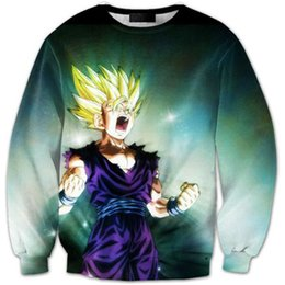 Wholesale Men D Red Blame Picture Cartoon Dragon Ball Fighting Erupted Animation People Head Printing Long Sleeved Hedging Boy Sport Bull