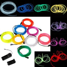 Lemon Red Yellow Green White Blue Purple Pink 3M Flexible Neon Light EL Wire Rope Tube with Controller Shipping
