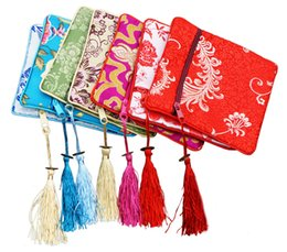 Wholesale 5pcs Jewelry Bags Chinese Vintage Embroidered Silk Jewelry Rolls Pouch Gift Bags Mixed Colors