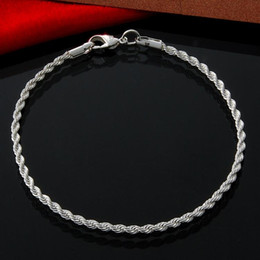 10Pcs Lot Free Shipping Wholesale 925 Sterling Silver Bracelet 2mm Twisted Rope Chain Bracelet Silver Jewelry Bulk
