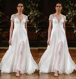 Wholesale Lace Isabelle Armstrong Beach Wedding Dresses Short Sleeves A line Chiffon Bridal Dresses Vintage Cheap Summer Wedding Gowns