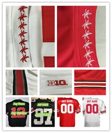 Wholesale 100 Stitched Personalized Custom Any Name Any Number Ohio State Buckeyes College Rugby Football Jerseys Red White Black Good Quality