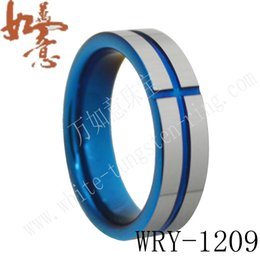 Blue Tungsten Carbide Rings 6mm for Men WRY-1209