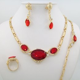 Wholesale Newest Product Imitation Rose Red Zircon Pendant Necklace Earring Jewelry Sets Dubai Wedding Jewelry Sets For Women