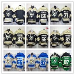 Wholesale Stitched Pittsburgh Penguins Hoody CROSBY Malkin Lemieux Blank hockey Kids men Black Green Cream Jerseys Ice Jersey Hoodie Mix Order