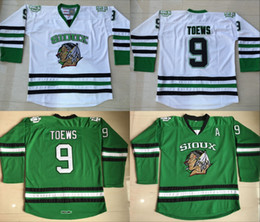 Wholesale North Dakota Fighting Sioux Hockey Jersey Jonathan Toews Green University Throwback Stitched Jerseys Custom Name And Number
