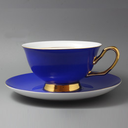 Wholesale Colorful Coffee Cup and Saucer Sets Pretty Candy Colorful Cups and Saucers China Tea Cup and Saucer Ceramic Blue and Gold