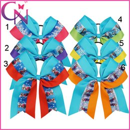 2016 Girl Frozen Headwear 6.5 inch Grosgrain Bows with bobbles ponytails Hair bands ribbon Bowknot Ropes hairband Hair Accessories