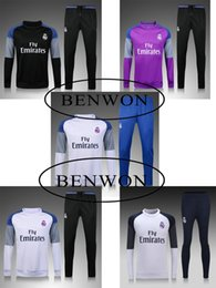 Wholesale Benwon Real Madrid round collar football tracksuit thai quality long sleeve soccer set training suits outdoor winter coat sportswear