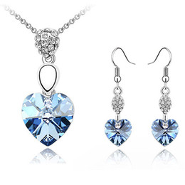 Fashion Bijouterie Crystal from Swarovski Elements Female Jewelry Sets Crystal Heart Pendant Necklace Drop Earrings For Women 2696