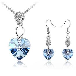 Fashion Bijouterie Crystal from Swarovski Elements Female Jewelry Sets Crystal Heart Pendant Necklace Drop Earrings For Women 2696