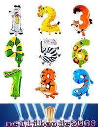 Animales libres en Línea-16 pulgadas de la hoja Kids Party Globos Número de animales Decoración del feliz cumpleaños de la boda Decoración Balón de regalo ¡ENVÍO MYY