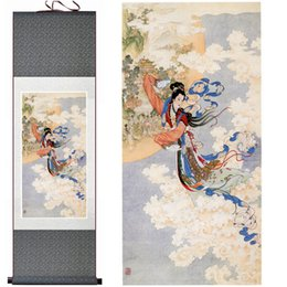 Wholesale Dragon Art Large Size Decorative Chang E Portrait Scenery Contemporary Artwork Figure Silk Paintings on Canvas Wall Art for Home Decoration
