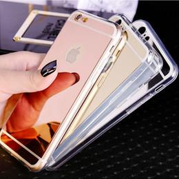 Acheter en ligne Mélanger le cas de la mode-Mixed ordre Mode miroir de luxe étui souple pour Iphone 6 6S 4.7inch TPU cadre couvercle pour Iphone 6 6S Plus 5.5 Ultra Slim clair Phone Cases