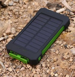 Wholesale Solar Panal Power Bank mah Powerbank Out Door Power Pack Charger USB Port WaterProof with LED light For iPhone Samsung HTC Mobilephone