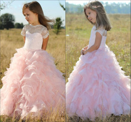 Wholesale Beautiful Flower Baby Girls Dresses IllusionTiered Floor Length Cute Girls Pageant Dress Organza And Lace Ruffle Birthday Kids Prom Dress