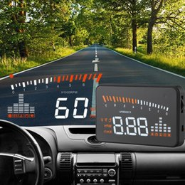 Wholesale 2016 Hot X5 Car HUD Head Up Display Speedometer OBD OBD2 Interface KM h MPH Automobile Speeding Warning System Car styling
