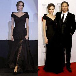 Wholesale Angelina Jolie Dress Car Styling New V neck Black Long Evening Gowns Floor Length Red Carpet Celebrity Dresses