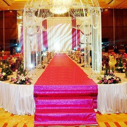 DHL Luxury Wedding Centerpieces red color Pearlescent Wedding Decoration Carpet T station Aisle Runner For Wedding Props Supplies 1.4M wide