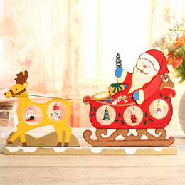 Wholesale HOT XMAS Gift table XMAS Decoration Creative wooden Deer pull Sleigh Deer pull santa window decor for X mas