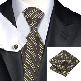 Classic Mens Ties Set Brown Necktie Set Hanky Cufflinks Silk Tie Jacquard Woven Business Meeting Casual N-0971