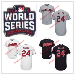 Wholesale 24 Andrew Miller Jersey World Series Patch MLB Baseball Cleveland Indians Jerseys Flexbase Home Away size XL XL