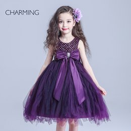 Wholesale purple flower girl dress Flower girl dress beaded girl dresses for party high quality crafts shop online from china buy items