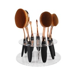 Wholesale 10pcs Toothbrush Oval Makeup Brushes Display Holder Stand Storage Organizer Brush Showing Rack Plastic Round Acrylic Cosmetic Organizer