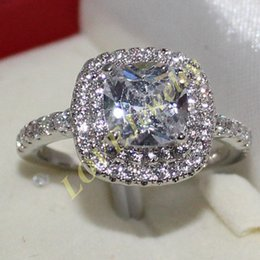 Lady's 925 Silver Cushion-cut White Sapphire CZ Stone Statement Wedding Ring Size 6-9