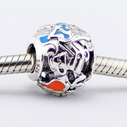 Loose beads 925 Sterling Silver Sorcerer Dangle Charm Bead Alice's Tea Party, Mixed Enamel Fits for Pandora Snake Chain Bracelets bangles