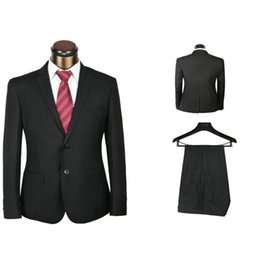 Wholesale-formal brand 2 pieces men's classic model black suits for work dropship mens suits with pants free tie as gift