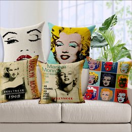 Wholesale Mr Wonderful Star Marilyn Monroe Retro Cushion Cover Bed Vintage Pillow Style Soft Loading Bay Window Ostrich Light Body Image Pillow Covers